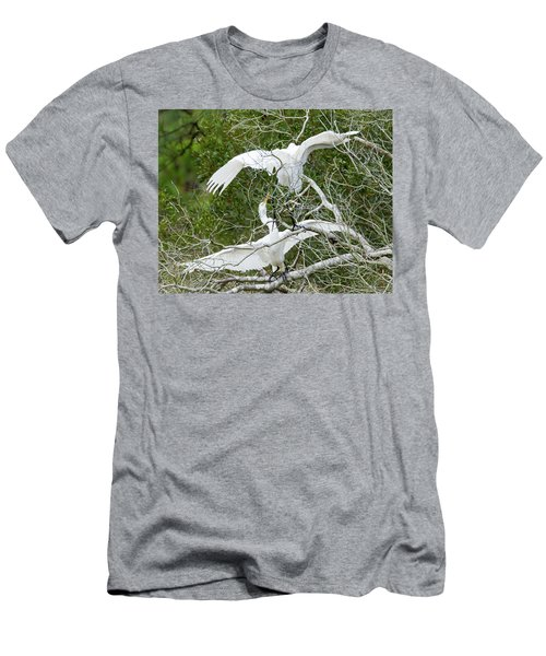 Men's T-Shirt (Slim Fit) featuring the photograph Egret Rumble by George Randy Bass