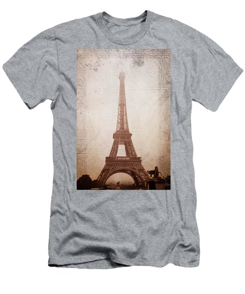 Men's T-Shirt (Slim Fit) featuring the digital art Eiffel Tower In The Mist by Christina Lihani