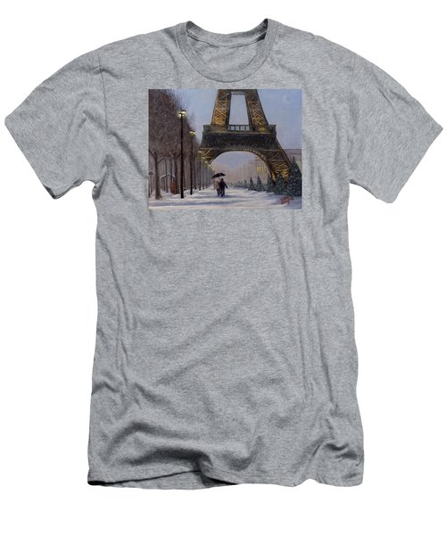 Eiffel Tower In The Snow Men's T-Shirt (Slim Fit) by Dan Wagner
