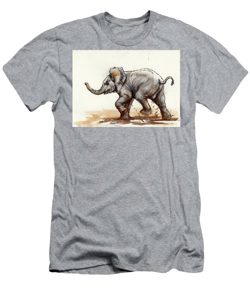 Elephant Baby At Play Men's T-Shirt (Slim Fit) by Margaret Stockdale