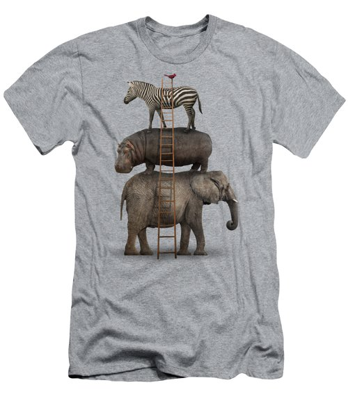 Elephant, Hippo, Zebra Animal Stack With A Cardinal Men's T-Shirt (Slim Fit) by Greg Noblin