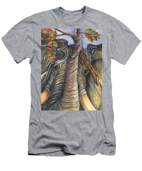 Elephant Holding A Tree Branch Men's T-Shirt (Athletic Fit)