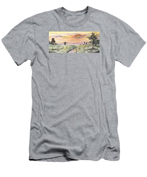 Men's T-Shirt (Athletic Fit) featuring the digital art Elevator In The Sunset by Darren Cannell