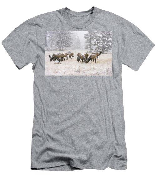Elk In A Snow Storm - 1135 Men's T-Shirt (Athletic Fit)