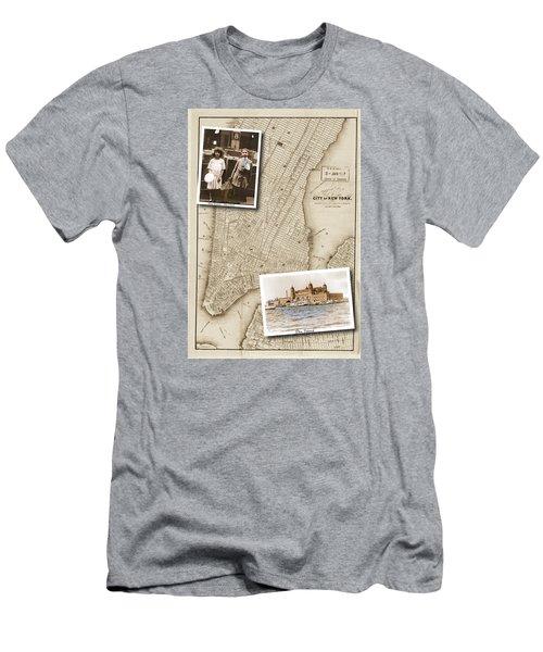Ellis Island Vintage Map Child Immigrants Men's T-Shirt (Athletic Fit)