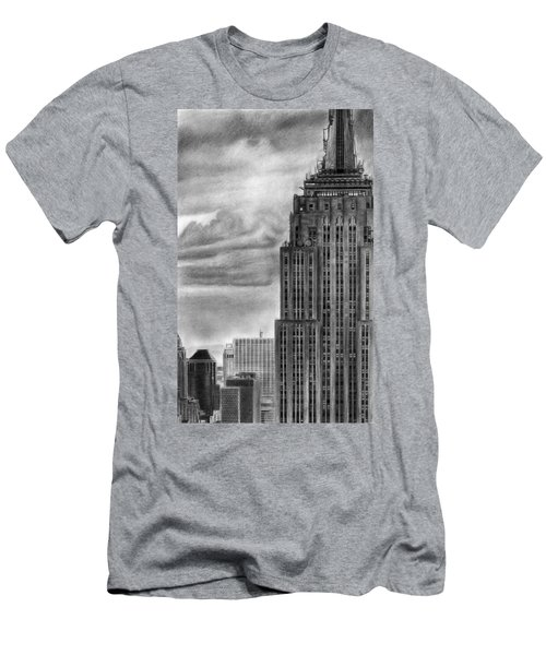 Empire State Building New York Pencil Drawing Men's T-Shirt (Athletic Fit)