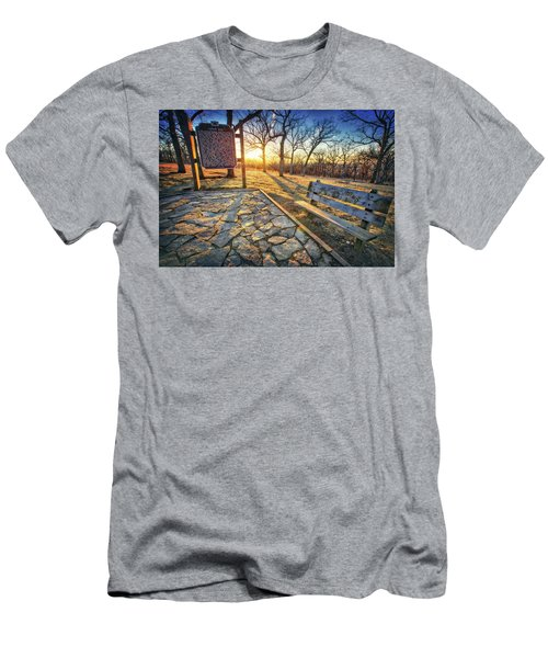 Men's T-Shirt (Slim Fit) featuring the photograph Empty Park Bench - Sunset At Lapham Peak by Jennifer Rondinelli Reilly - Fine Art Photography