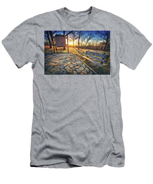 Empty Park Bench - Sunset At Lapham Peak Men's T-Shirt (Slim Fit) by Jennifer Rondinelli Reilly - Fine Art Photography