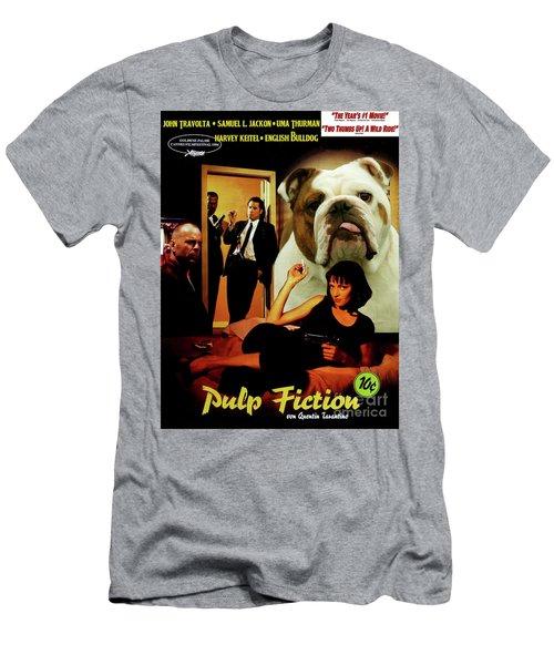 English Bulldog Art Canvas Print - Pulp Fiction Movie Poster Men's T-Shirt (Athletic Fit)