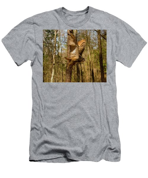Men's T-Shirt (Slim Fit) featuring the photograph Eurasian Eagle Owl In Flight by Chris Flees