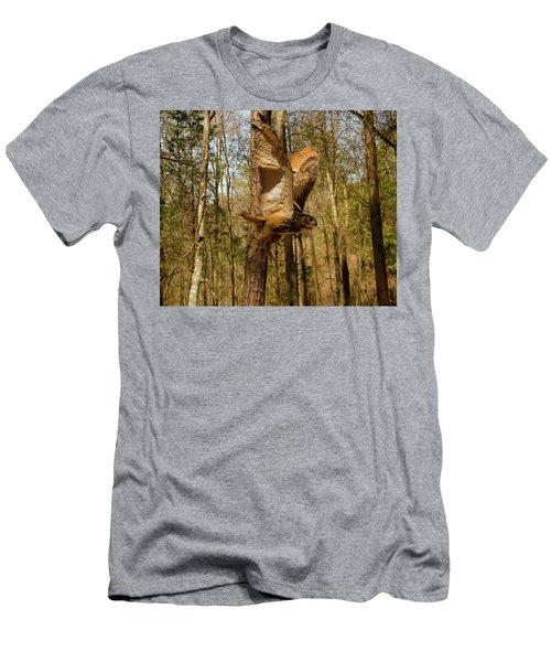 Eurasian Eagle Owl In Flight Men's T-Shirt (Slim Fit) by Chris Flees