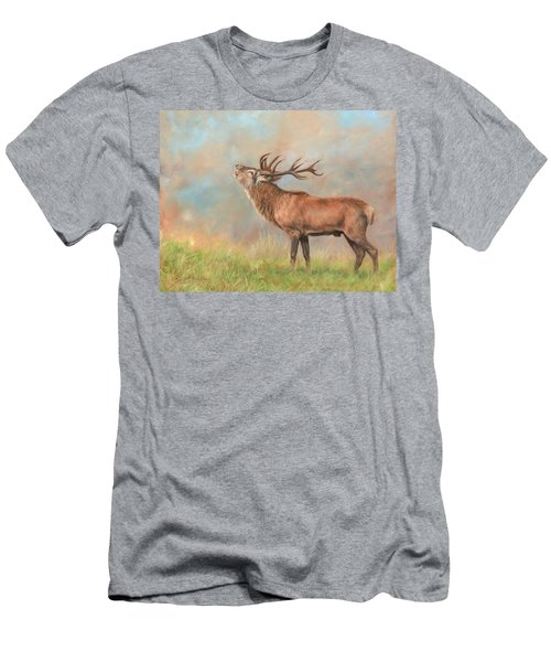 Men's T-Shirt (Slim Fit) featuring the painting European Red Deer by David Stribbling