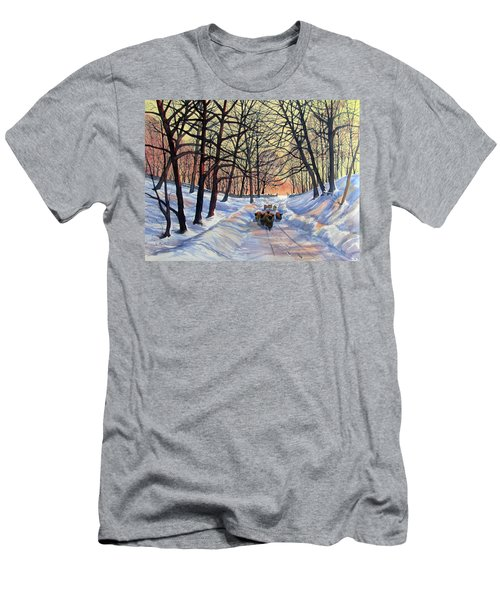 Evening Glow On A Winter Lane Men's T-Shirt (Athletic Fit)