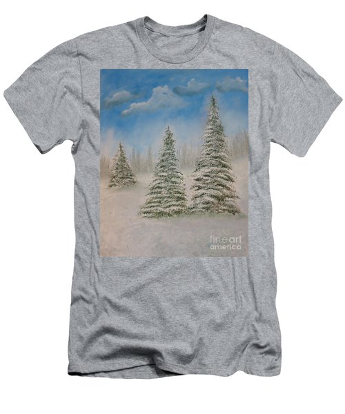 Evergreens In Snow  Men's T-Shirt (Athletic Fit)