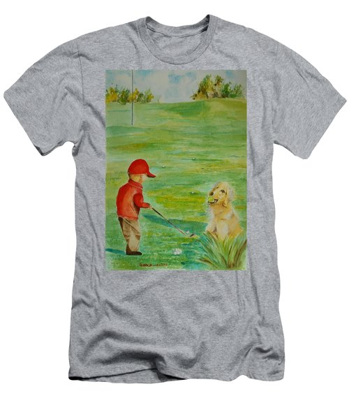 Everything Waits While I Golf Art Men's T-Shirt (Slim Fit) by Geeta Biswas