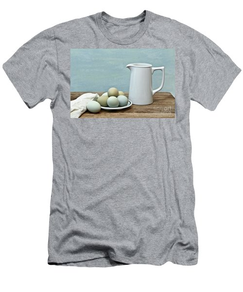 Exotic Colored Eggs With Pitcher Men's T-Shirt (Slim Fit) by Pattie Calfy
