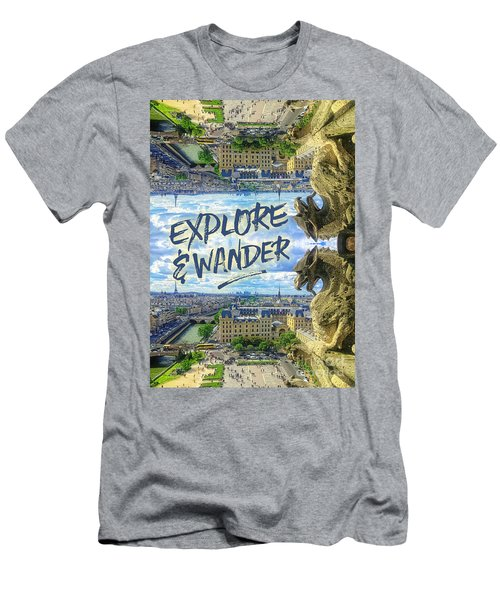 Explore And Wander Notre Dame Cathedral Gargoyle Paris Men's T-Shirt (Athletic Fit)