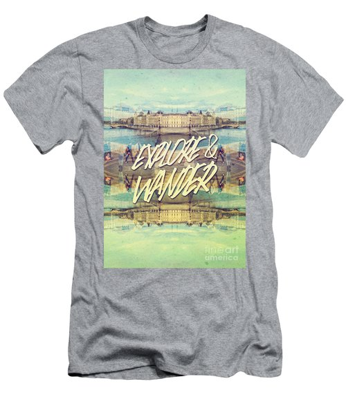 Explore And Wander Seine River Louvre Paris France Men's T-Shirt (Athletic Fit)