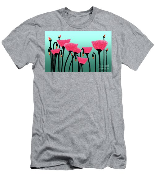 Expressive Red Pink Green Poppy Painting Y1a Men's T-Shirt (Athletic Fit)