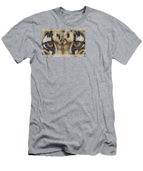 Men's T-Shirt (Athletic Fit) featuring the painting Clouded Leopard Gaze by Barbara Keith