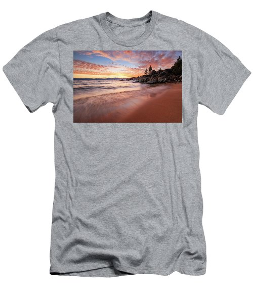 Fading Sunset Waves At Sand Harbor Men's T-Shirt (Athletic Fit)