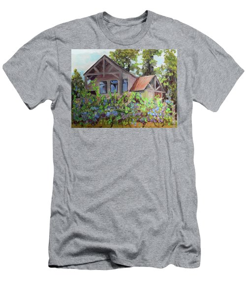Men's T-Shirt (Athletic Fit) featuring the painting Fainting Goat Vineyard Through The Vines by Jan Dappen