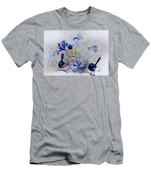 Men's T-Shirt (Athletic Fit) featuring the painting Fairy Wrens In A Cottage Garden by Ryn Shell