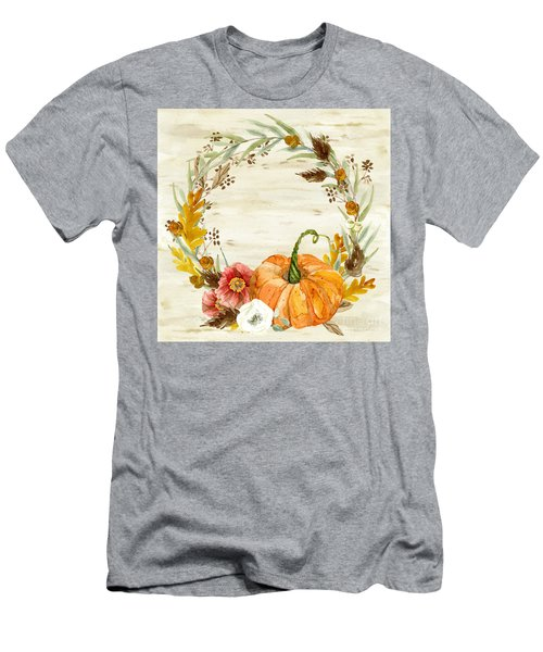 Men's T-Shirt (Athletic Fit) featuring the painting Fall Autumn Harvest Wreath On Birch Bark Watercolor by Audrey Jeanne Roberts