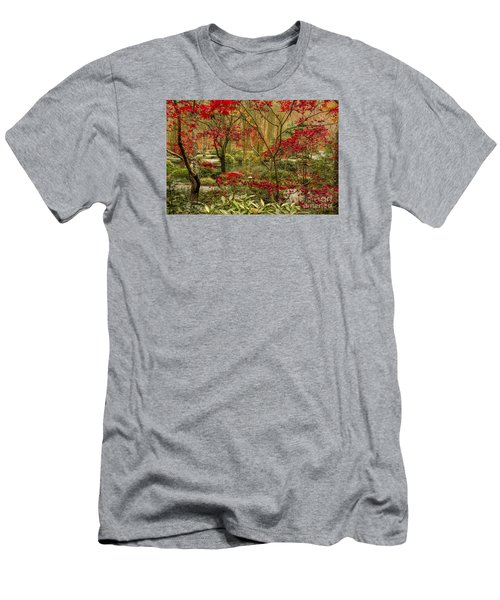 Fall Color In The Japanese Gardens Men's T-Shirt (Slim Fit) by Barbara Bowen
