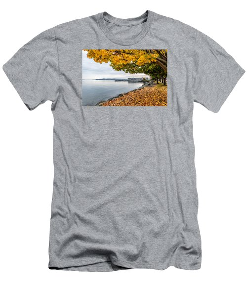 Men's T-Shirt (Slim Fit) featuring the photograph Fall Colors Framing Commencement Bay by Rob Green
