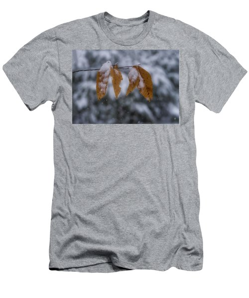 Fall Leaves In Snow Men's T-Shirt (Athletic Fit)