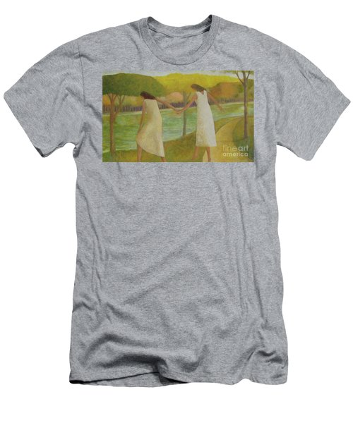 Men's T-Shirt (Slim Fit) featuring the painting Fall River by Glenn Quist