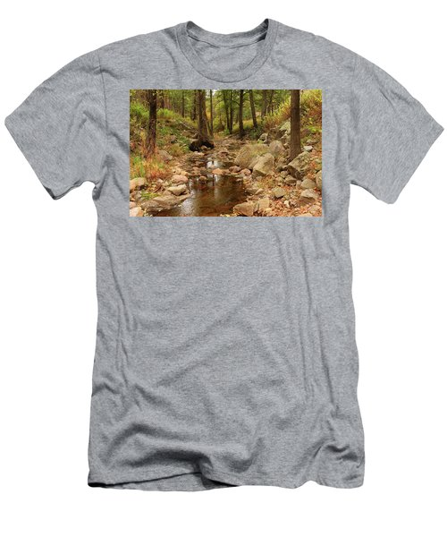 Men's T-Shirt (Slim Fit) featuring the photograph Fall Stream And Rocks by Roena King