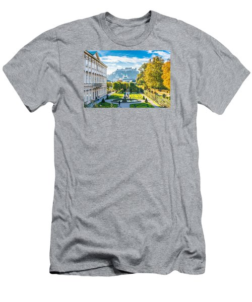 Famous Mirabell Gardens With Historic Fortress In Salzburg, Aust Men's T-Shirt (Athletic Fit)