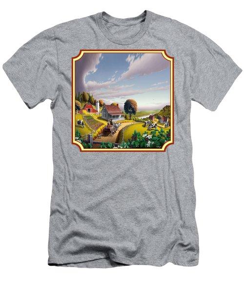 Farm Americana - Farm Decor - Appalachian Blackberry Patch - Square Format - Folk Art Men's T-Shirt (Slim Fit) by Walt Curlee