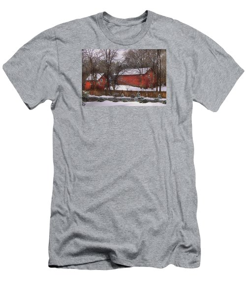 Farm - Barn - Winter In The Country  Men's T-Shirt (Slim Fit) by Mike Savad