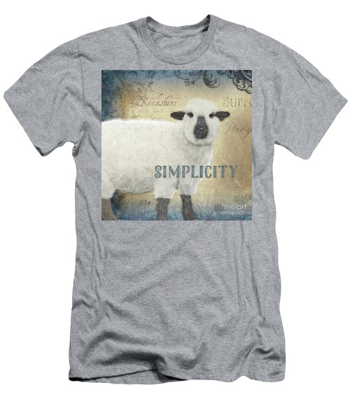 Men's T-Shirt (Athletic Fit) featuring the painting Farm Fresh Sheep Lamb Simplicity Square by Audrey Jeanne Roberts