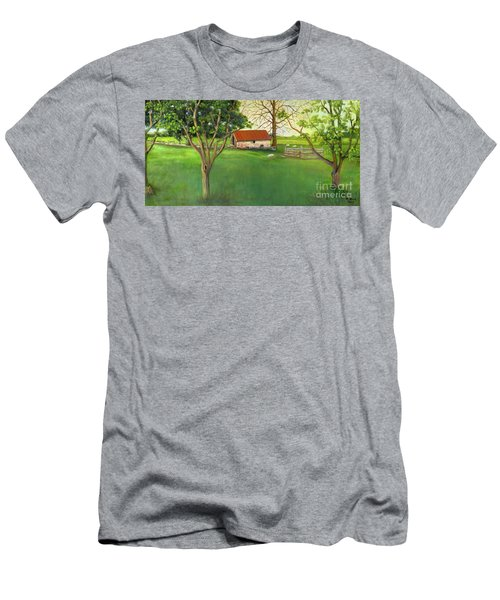 Men's T-Shirt (Athletic Fit) featuring the painting Farmland Scene by Marlene Book