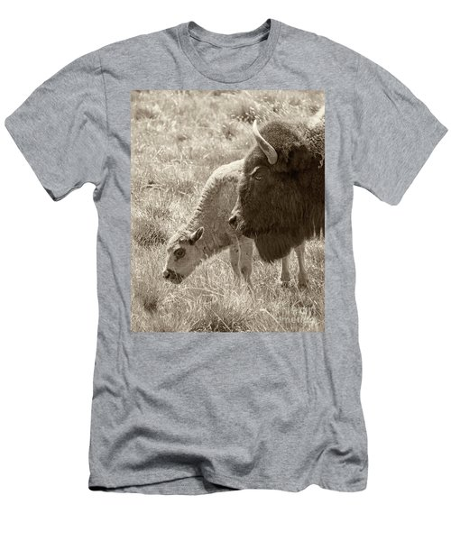 Men's T-Shirt (Slim Fit) featuring the photograph Father And Baby Buffalo by Rebecca Margraf