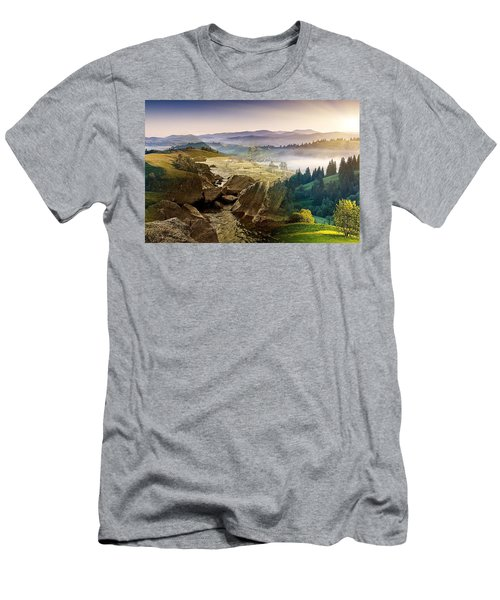 Feeding The Waterfall Montage Men's T-Shirt (Athletic Fit)