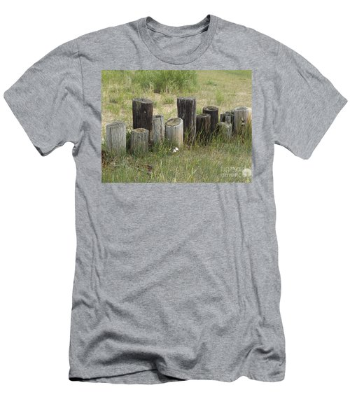 Fence Post All In A Row Men's T-Shirt (Slim Fit) by Erick Schmidt