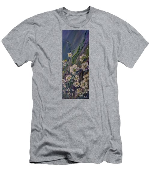Fields Of White Flowers Men's T-Shirt (Slim Fit) by AmaS Art