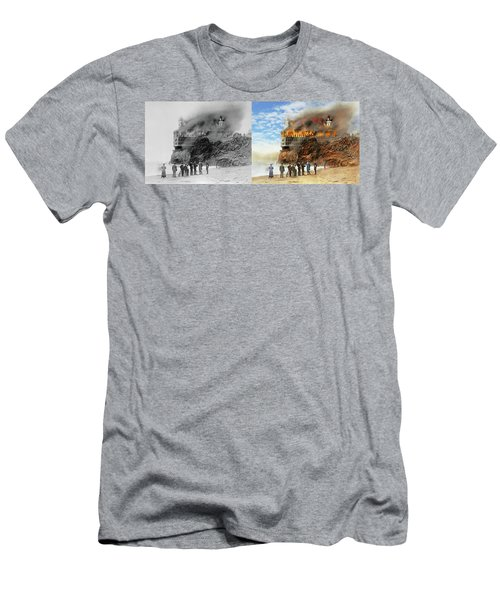 Men's T-Shirt (Slim Fit) featuring the photograph Fire - Cliffside Fire 1907 - Side By Side by Mike Savad