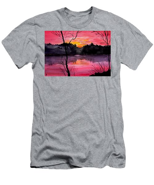 Fire In The Sky    Lake Arrowhead Maine Men's T-Shirt (Athletic Fit)
