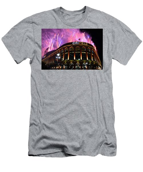 Fireworks Night At Citifield Men's T-Shirt (Slim Fit) by James Kirkikis