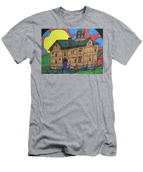 Men's T-Shirt (Slim Fit) featuring the drawing First Menominee High School. by Jonathon Hansen