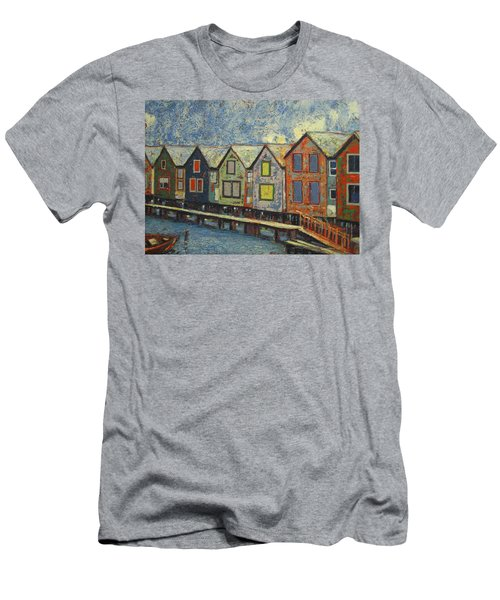 Men's T-Shirt (Slim Fit) featuring the painting Fishermen Huts by Walter Casaravilla