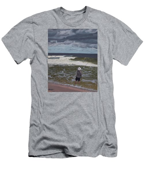 Fishing The Surf In Lavallette, New Jersey Men's T-Shirt (Slim Fit) by Barbara Barber