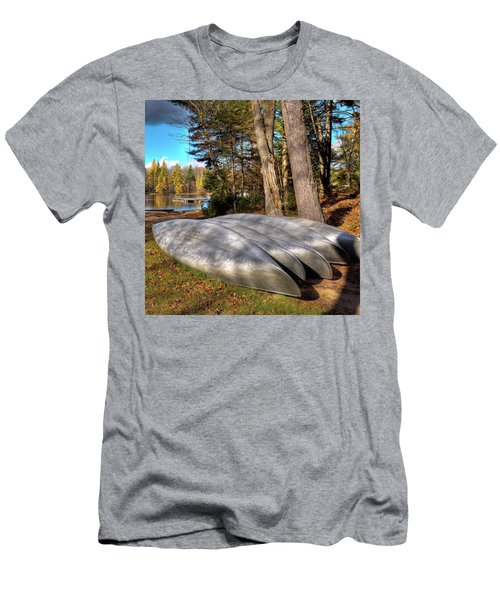 Men's T-Shirt (Slim Fit) featuring the photograph Five Canoes At Woodcraft Camp by David Patterson