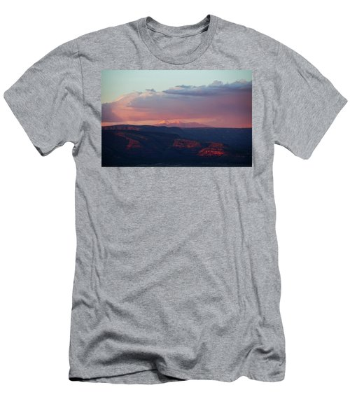 Flagstaff's San Francisco Peaks Snowy Sunset Men's T-Shirt (Slim Fit) by Ron Chilston